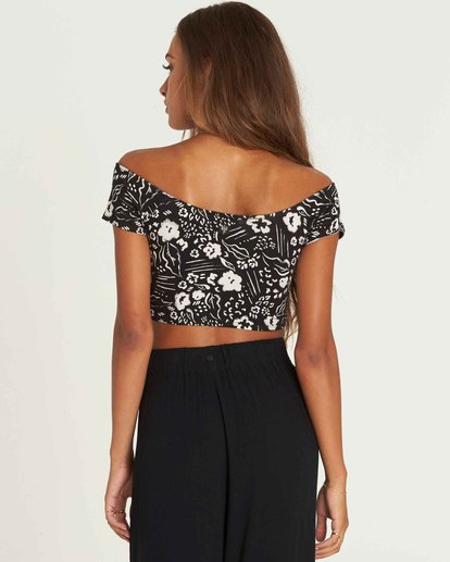 2 Babe Alert Off-The-Shoulder Crop Top Black J910PBBA Billabong