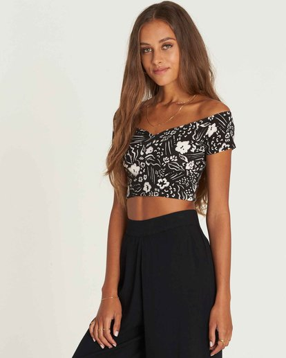 1 Babe Alert Off-The-Shoulder Crop Top Black J910PBBA Billabong