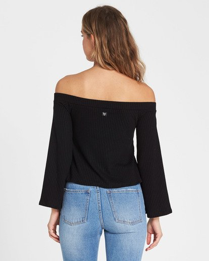 2 Fly Far Off-The-Shoulder Long Sleeve Top Black J920SBFL Billabong