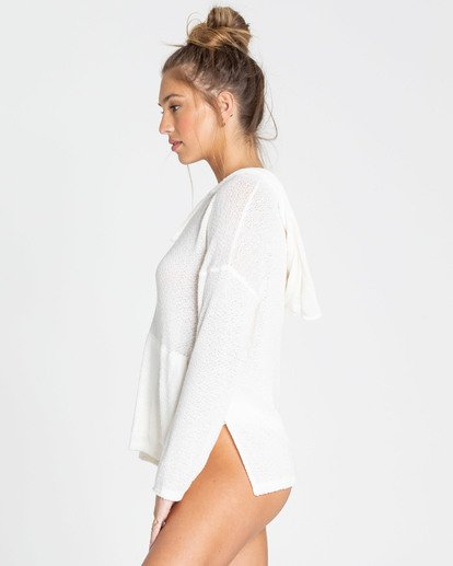 1 Days In The Sun Hooded Long Sleeve Top White J922TBDA Billabong