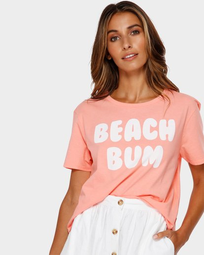 0 Beach Bum Crop Tee Pink J990TBBR Billabong