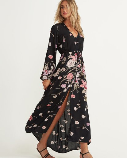 1 Desi Kimono Maxi Dress Black JD06QBDE Billabong