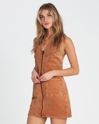1 Foxy Corduroy Mini Dress Brown JD12SBFO Billabong