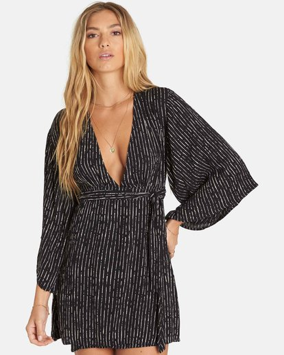 0 Relax On High Plunging Mini Dress Black JD13PBRE Billabong