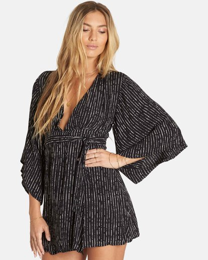 1 Relax On High Plunging Mini Dress Black JD13PBRE Billabong