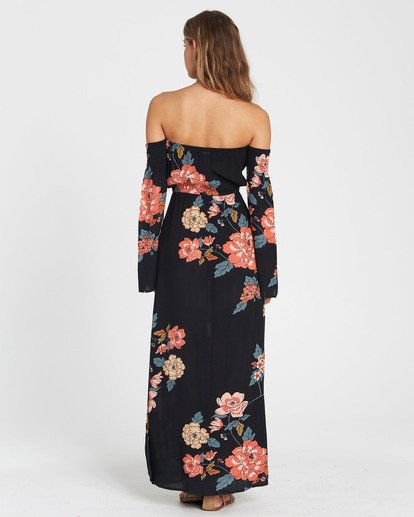 2 Crystal Flower Off-The-Shoulder Maxi Dress Black JD14SBCR Billabong