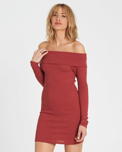 1 Sweater Weather Off-The-Shoulder Sweater Dress Red JD15SBSW Billabong