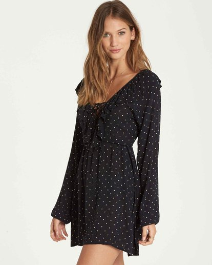 1 Take Away Long Sleeve Mini Dress Black JD18QBTA Billabong
