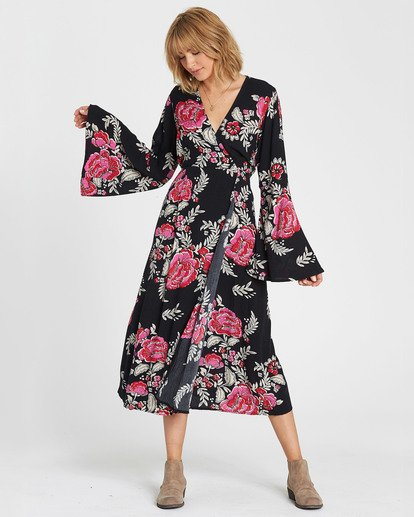 2 Floral Whispers Floral Print Midi Dress Black JD22SBFL Billabong