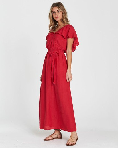3 Dance All Night Knit Maxi Dress Red JD23SBDA Billabong
