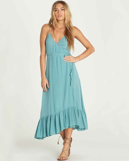 0 Hold Me Tight Wrap Maxi Dress Green JD26PBHO Billabong