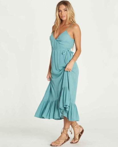 1 Hold Me Tight Wrap Maxi Dress Green JD26PBHO Billabong