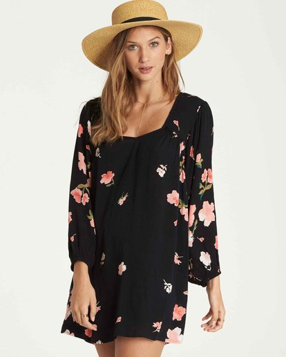 1 Beach Craze Long Sleeve Mini Dress Black JD28QBBE Billabong
