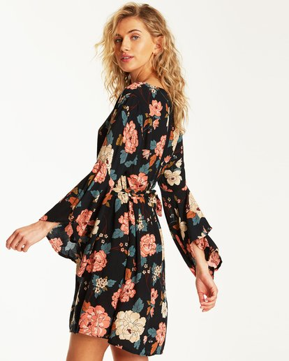 1 Always Love Floral Long Sleeve Dress Black JD31SBAL Billabong