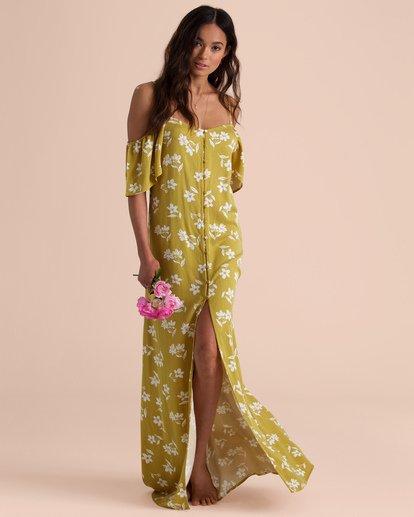 3 Sincerely Jules Shoulder Sway Maxi Dress Yellow JD34TBSH Billabong