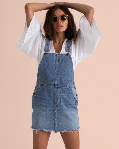 2 Sincerely Jules Fade Away Denim Skirt Overalls Blue JD67TBFA Billabong