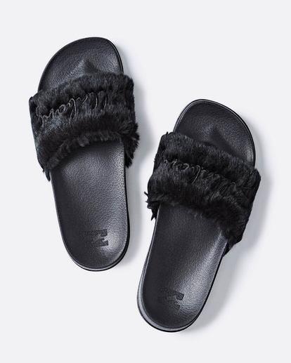 0 Whatevfur Slide Sandal Black JFOTQBWH Billabong