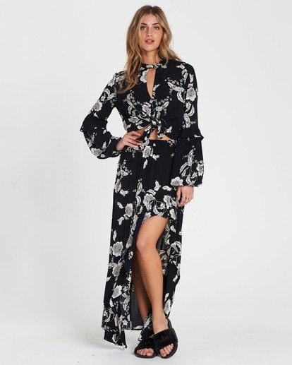 1 Kick Twist Floral Print Maxi Skirt Black JK03SBKI Billabong