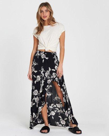 2 Kick Twist Floral Print Maxi Skirt Black JK03SBKI Billabong