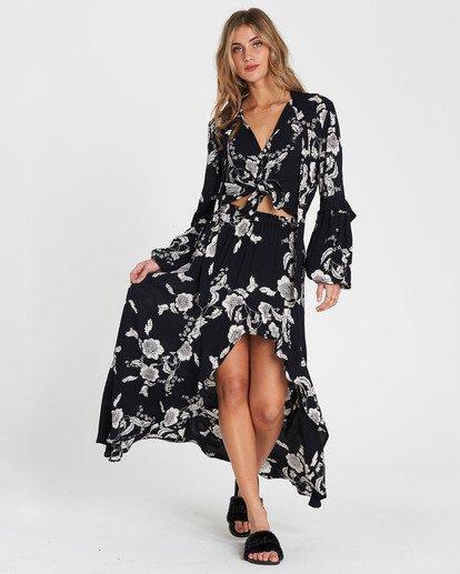 7 Kick Twist Floral Print Maxi Skirt Black JK03SBKI Billabong