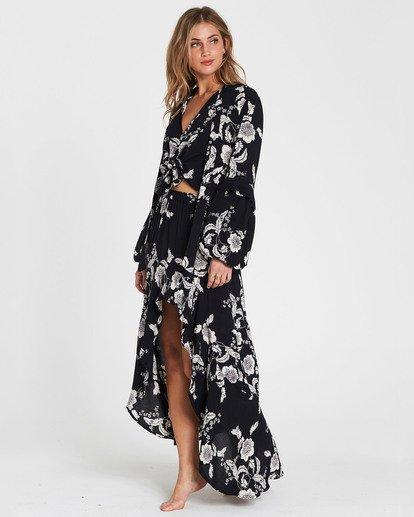 3 Kick Twist Floral Print Maxi Skirt Black JK03SBKI Billabong