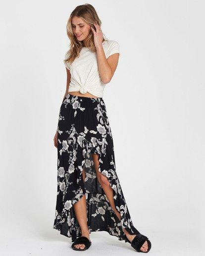 4 Kick Twist Floral Print Maxi Skirt Black JK03SBKI Billabong