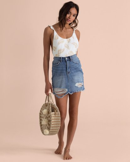 4 Sincerely Jules Take Risk Denim Skirt Blue JK06TBTA Billabong