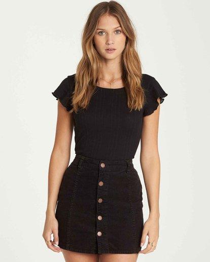 1 Push My Buttons Cord Mini Skirt Black JK10QBPU Billabong