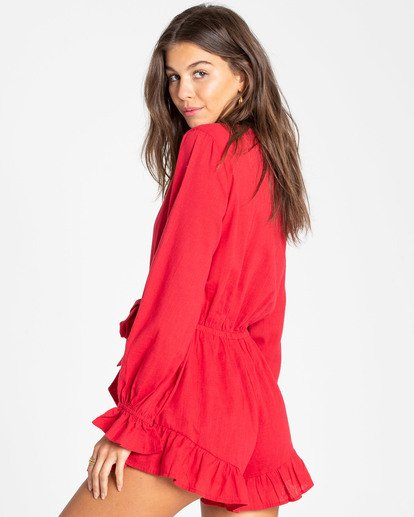 2 Play All Day Long Sleeve Romper Red JN04TBPL Billabong