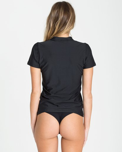 2 Core Loose Fit Short Sleeve Rashguard Black JR04QBCL Billabong