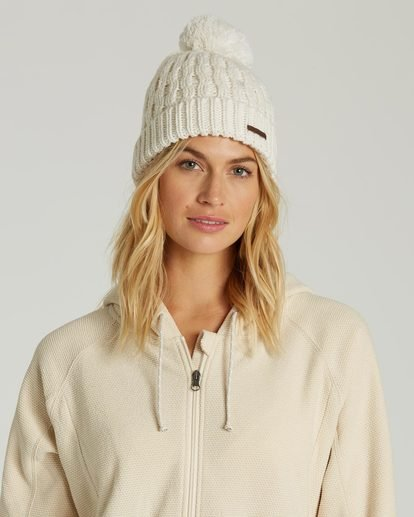 2 Women's Good Vibes Only Pom Pom Beanie White JSBNQGOO Billabong