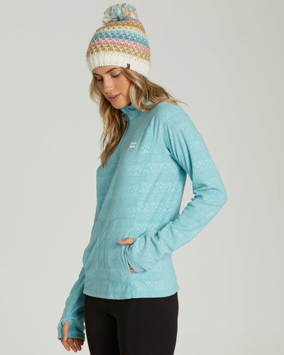 2 Women's Morning Call Half Zip Polar Fleece Blue JSN6QMOR Billabong