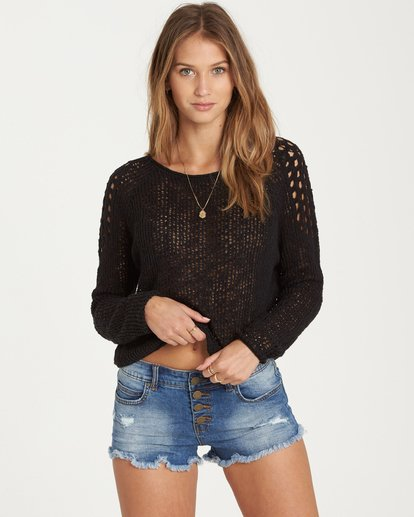 0 Sea Ya Soon Open Knit Sweater Black JV06PBSE Billabong