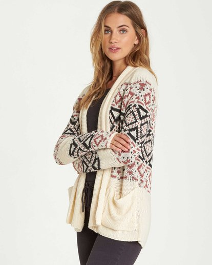 1 In Stitches Cardigan Sweater White JV16QBIN Billabong