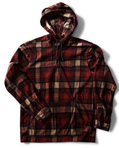 2 Furnace Anorak Polar Fleece Flannel Shirt Red M533SBFA Billabong