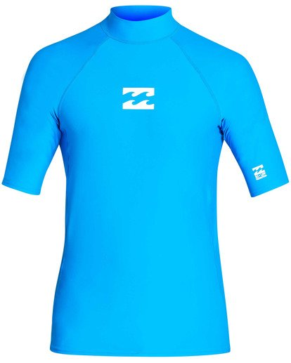 0 All Day Wave Performance Fit Short Sleeve Rashguard Blue MR03TBAL Billabong