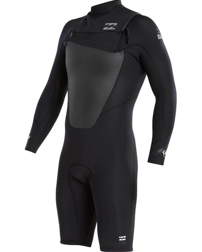 0 2mm Absolute Comp Long Sleeve Chest Zip Springsuit Black MWSPJFL2 Billabong