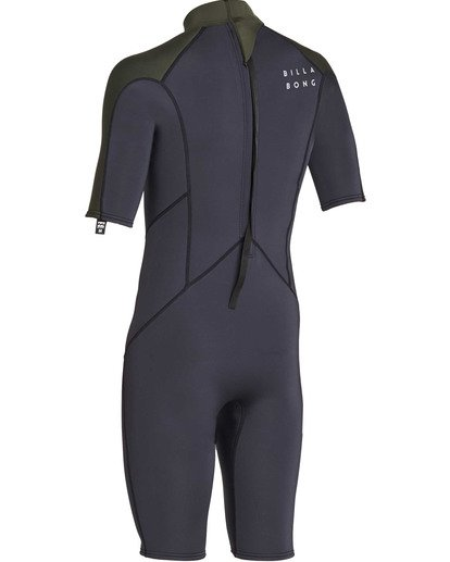 5 2mm Absolute Back Zip Short Sleeve Flatlock Spring Suit Black MWSPTBAB Billabong