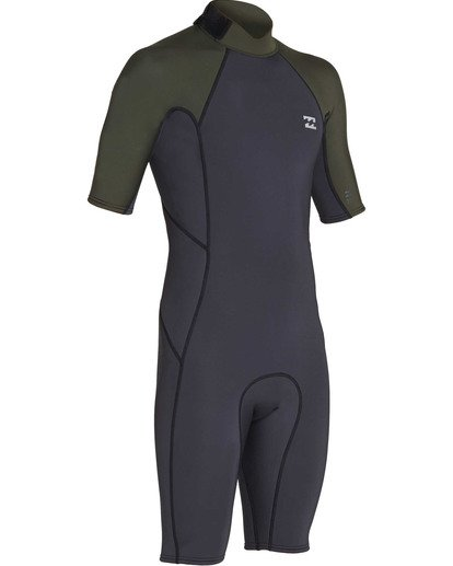 2 2mm Absolute Back Zip Short Sleeve Flatlock Spring Suit Black MWSPTBAB Billabong