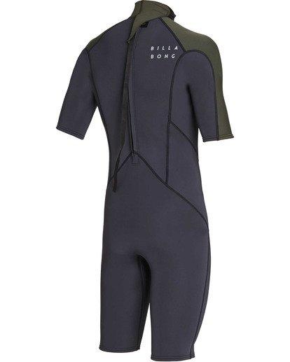 3 2mm Absolute Back Zip Short Sleeve Flatlock Spring Suit Black MWSPTBAB Billabong