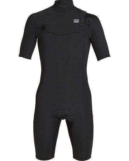 1 2mm Absolute Chest Zip Short Sleeve GBS Springsuit Black MWSPTBAG Billabong