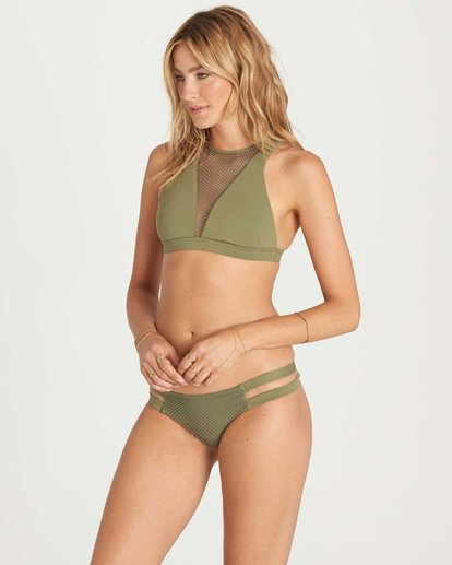 2 Meshin With You High Neck Bikini Top Green XT07KMES Billabong