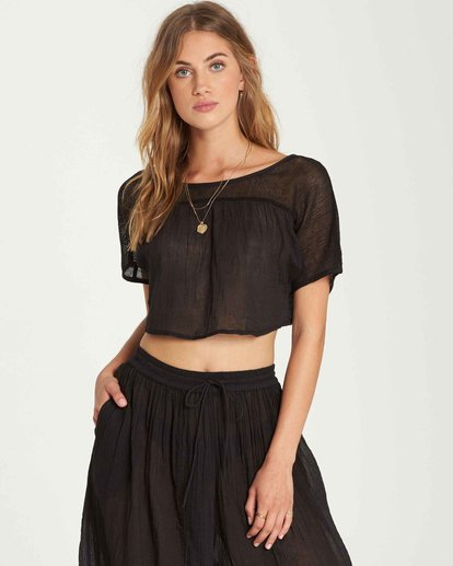 1 See You There Sheer Crop Top Black XV01QBSE Billabong
