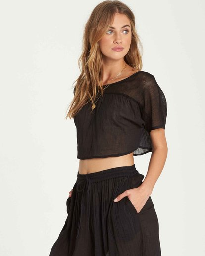 2 See You There Sheer Crop Top Black XV01QBSE Billabong