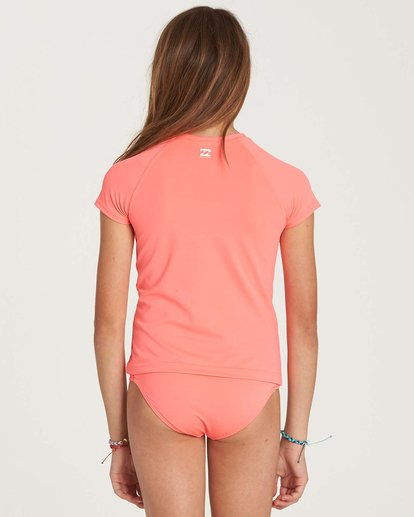 2 Girls' Stay Salty Short Sleeve Rashguard Pink YR01NBSO Billabong