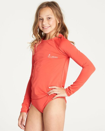 1 Girls' Sol Searcher Long Sleeve Rashguard Red YR02TBSO Billabong