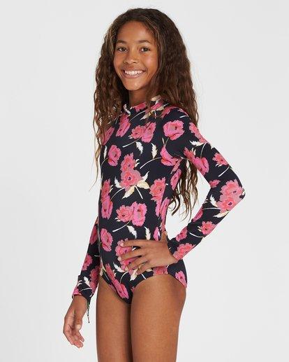 1 Girls' Floral Dawn Bodysuit Rashguard Black YR03SBFL Billabong