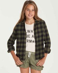 0 Girls' Buttoned Up Top Green G503QBBU Billabong