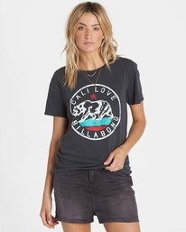0 Cali Bear Love Tee Black J467NBCA Billabong