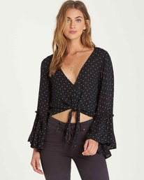0 Lust Wild Flared Sleeve Top Black J522QBLU Billabong